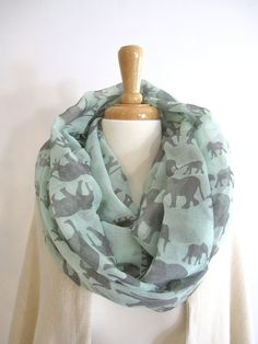 Mint Elephant Infinity Scarf Loop Scarf Circle Scarf Summer Scarf Head Scarf Cheap Scarves Fashion Scarves Scarfs