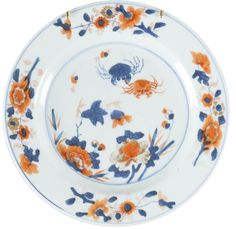 A Chinese export porcelain Imari plate decorated with crabs. Kangxi period. China/Asia. Painted in the traditional Imari palette and decorated with crabs and flowers.