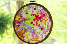 A Melted Bead Suncatcher in an Embroidery Hoop Frame -- super easy!