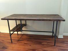 Steel and Wood Desk w/ Shelf Style 2 van SteelandPine op Etsy