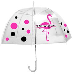 Personalized Clear Dome Umbrella , Adult size, Pink Flamingo Umbrella, Great Birthday Gift, Mother's Day Gift, or Teacher Gift by imaginethatgraphics1 on Etsy