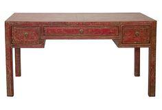 Roberta 3-Drawer Desk, Red on OneKingsLane.com