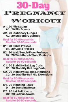 30 Day Home Pregnancy workout plan…