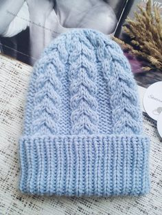 Sky blue knitted hat Cable knit hat Blue Cable Hat Hat With