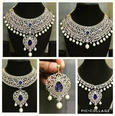 Diamond Necklace Set, Diamond Choker, Diamond Jewellery, Aquamarine Jewelry, Indian Wedding Jewelry, Victorian Jewelry, Bridal Jewelry Sets, Jewelry Patterns, Necklace Designs