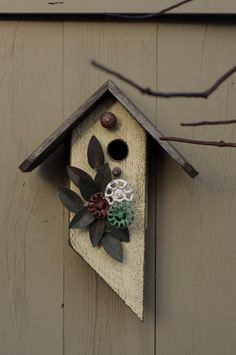 FREE SHIPPING AT THE THIS TIME IN THE US!!!  Painted Whimsical Birdhouse by BirdCreekMercantile on Etsy