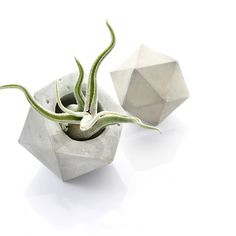 Concrete Icosahedron Planter and Sculpture Set of 2, Geometric Concrete Art, Gift set, modern cement decor, minimal geometric accessories by PASiNGA on Etsy https://www.etsy.com/listing/239240040/concrete-icosahedron-planter-and