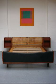 King Bed Frame With Attached Side Tables By Hans Wegner