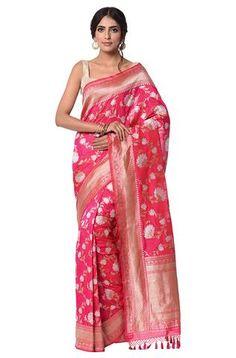 Hot pink with orange shot color kadhwa banaarsi jangla Saree