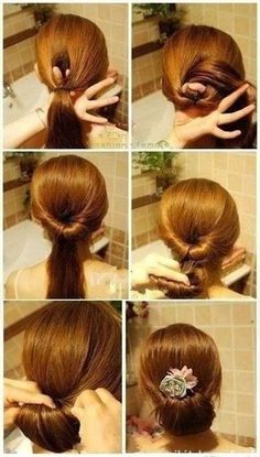 Long hair. Low bun