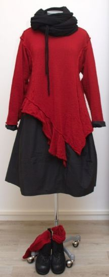 barbara speer - Pullover Zipfeln gekochte Wolle red - Winter 2015