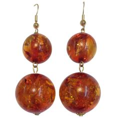 1980s Large Amber Ball Gold Earrings | From a unique collection of vintage dangle earrings at https://www.1stdibs.com/jewelry/earrings/dangle-earrings/