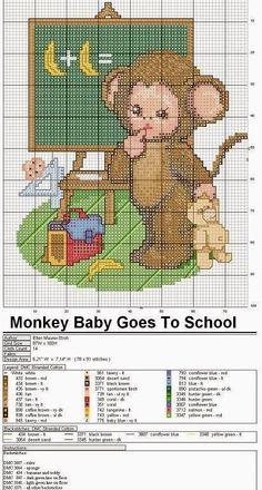 Hobby lavori femminili - ricamo - uncinetto - maglia: Schema punto croce baby animals scimmietta
