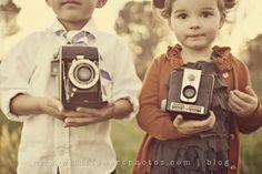 Kids holding vintage cameras | Vintage photography