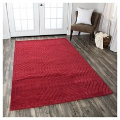 Rizzy Home Technique Collection Hand-Loomed 100% Wool Accent Rug - Red (3' x 5'), Durable