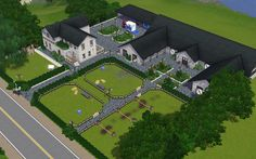 Minecraft Horse Stables, Minecraft Barn, Horse Farm Layout, Barn Layout, Goat Shelter, Horse Shelter, Sims 3, Luxury Horse Barns, Back Garden Landscaping