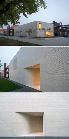 The exterior of this modern house is made up of white bricks with minimal windows. The entrance to the home is tucked away within a small alcove. #fachadasminimalistasblancas
