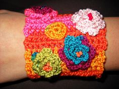 Crochet bracelet with crocheted flowers by madebyGeo on Etsy, $35.00