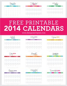 Download this Free #Printable 2014 Monthly #Calendar over at Design Eat Repeat. Fun, fresh, and free way to start planning your 2014!