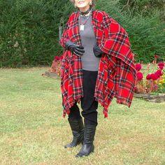 Red Stewart Plaid Anti Pill Fleece Wrap, Shawl or Poncho--One Size Fits Most