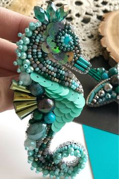 Turquoise large beaded brooches sea horse