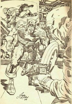 Captain America and Bucky pencil sketch by Jack Kirby