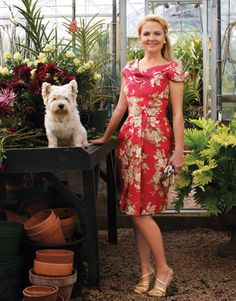 Guest in the greenhouse. Dress and sandals, Dior. Earrings, Verdura. Ring, Kimberly McDonald.   - HarpersBAZAAR.com