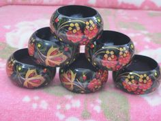 Pretty Wooden Hand Painted Flower  Black by Daysgonebytreasures