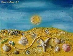 Ocean Treasures Original Mixed Media Art. Beach by TerraCollageArt