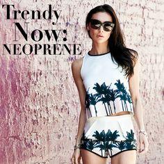 Tendência Neoprene, look short e blusa cropped