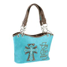 TURQUOISE - THE JOY OF THE LORD RHINESTONE CROSS HANDBAG PURSE