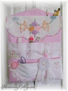 Multi pocket craft/sewing organizer Pink Cottage Shabby Chic ~ Beautiful Items available for SALE