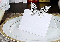 JZK® 50 x tarjetas etiquetas decorativas en forma de mariposa copa de vino tarjeta para boda invitaciones, agradecimiento, regalo, detalle de boda, cumpleaño, comunión, bautizo o fiesta ( azul tiffany ): Amazon.es: Hogar