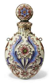 A RUSSIAN SILVER-GILT AND CLOISONNE ENAMEL SCENT BOTTLE