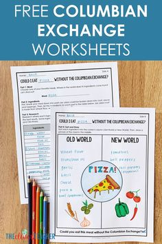 Let your students get creative with these FREE Age of Exploration Columbian Exchange worksheets! This freebie makes a fu 7th Grade Social Studies, Social Studies Worksheets, Teaching Social Studies, Free Worksheets, Printable Worksheets, Social Studies Activities, History Activities, Middle School Activities, Education Middle School