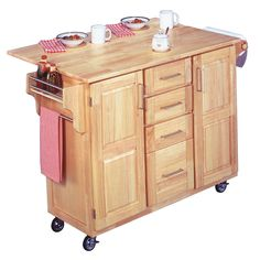Home Styles Breakfast Bar Kitchen Cart with Natural Wood Top | Overstock.com