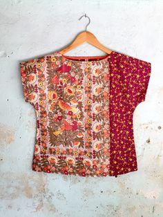 Excited to share this item from my shop: Upcycled Womens Shirt Top Blouse Petite Vintage Linen Tea Towel Spring Floral Maroon Burgundy Birds Retro Cotton Patchwork X Small Batik Fashion, Diy Fashion, Vintage Fashion, Handmade Clothes, Diy Clothes, Clothes For Women, Vintage Linen, Blouse Vintage, Couture