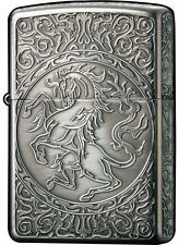 Zippo Lighter Antique Crest HOESE EMBLEM Silver 2SI-HORSE Japan Model