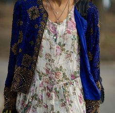 Contrasted beautifully. Yes! Electric blue jacket and floral printed country dress !!