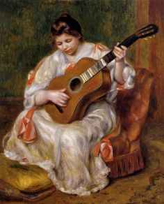 Pierre Auguste Renoir A Woman Playing the Guitar painting is shipped worldwide,including stretched canvas and framed art.This Pierre Auguste Renoir A Woman Playing the Guitar painting is available at custom size. Pierre Auguste Renoir, Edouard Manet, Jean Renoir, Henri Matisse, Oil On Canvas, Canvas Art, Canvas Prints, Art Prints, Big Canvas