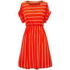 Orange & White Striped Simple Stretchy Short Sleeve Dress ($18) ❤ liked on Polyvore featuring dresses, orange, print dress, white day dress, empire waist dress, horizontal striped dress and short-sleeve dresses