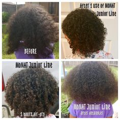 """Check out these BEFORE and AFTER pics of a 4-year-old's curls after using the MONAT Junior line just once! Her mom was very happy with results: """"It was super easy to comb, once hair dried, curls kept their shape and didn't get frizzy. It even looked good the next day."""""""