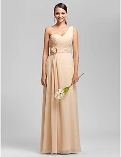 vestido de festa bainha / coluna de um ombro até o chão chiffon dama de honra / casamento (1616134) - BRL R$ 157,46