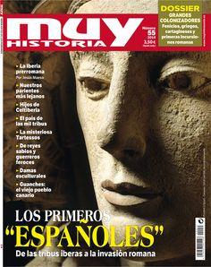 """Portada de Muy Historia correspondiente al mes de septiembre de 2014, número 55, con el tema de portada """"Los primeros 'españoles': de las tribus iberas a la invasión romana"""""""