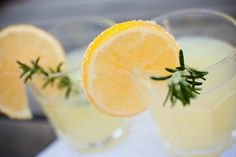 Rosemary {Spiked} Lemonade with sugared lemon wheels