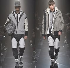 Onitsuka Tiger x ANDREA POMPILIO 2014-2015 Fall Autumn Winter Mens Runway Looks - Mercedes-Benz Fashion Week Tokyo Japan Catwalk Fashion Show - Goggles Snow Outerwear Parka Coat Multi-Panel Sporty Athletic Sweater Jumper Stripes Bomber Varsity Jacket Jogging Sweatpants Straps Backpack Necktie