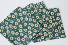 Set of 4 Cloth Table Napkins Teal / Beige by SUZUYA on Etsy, $15.00