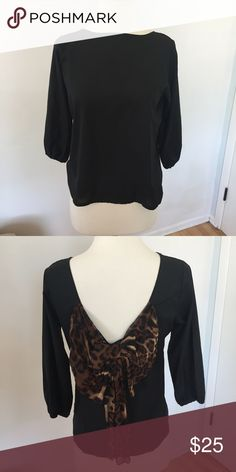 Sheer Black Cheetah Bow Blouse A88 Cute chic and classy black slightly sheer blouse with a cheetah print bow on the back. Elastic wrists. No tags but fits like a small. Gently worn, no flaws. Tops Blouses