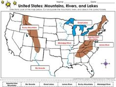 United States Map: Mountains (Appalachian Mountains and Rocky Mountains), Rivers (James River, Rio Grande, and Mississippi River), and Lakes (Great Lakes) Cut and Paste Activity - King Virtue's Classroom  Students will love applying what you've taught them about the United States Map with this engaging cut and paste activity. This map skills activity will help them review the mountains, rivers, and lakes, located in America.