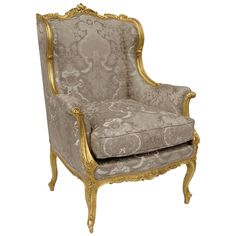 Great Louis XV Style Bergère in Gilt and Carved Wood